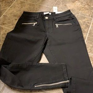 Loft black curvy jeans with zippers